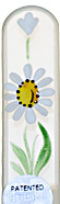 Image of Hand Painted Gerbera White glass nail file