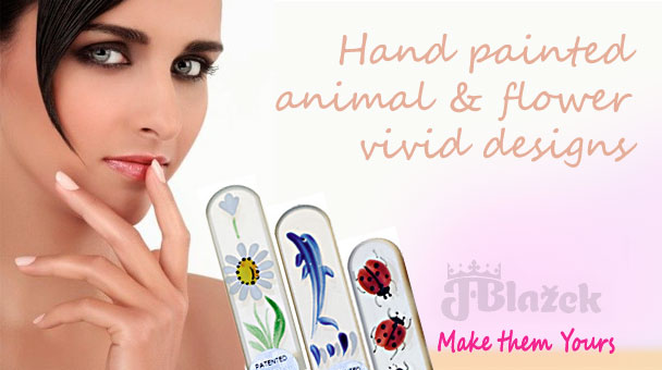 Hand Painted Animal & Flower designs of Blazek Glass Nail Files